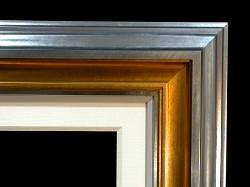"Dark Silver Crown, Gold Scoop, 1/2"" Silver 1/2"" Painted Linen, 2 1/2"" Linen Liner"