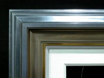 "Dark Silver Crown, Warm Silver Scoop, 1/2"" Gold, 1/2"" Painted Linen, 2 1/2"" Linen Liner"