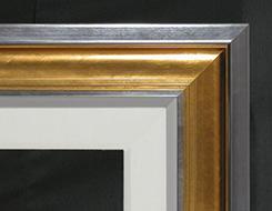 """Dark Silver Cap, Gold Scoop, 1/2"""" Silver, 1/2"""" Painted Linen, 2 1/2"""" Linen Liner"""