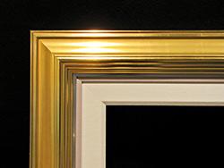 """Wide Gold Leaf, 1/2"""" Silver, 1/2"""" Painted Linen, 2 1/2"""" Linen Liner"""