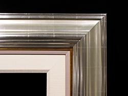 """Wide Silver Leaf, 1/2"""" Gold, 1/2"""" Painted Linen, 2 1/2"""" Linen Liner"""