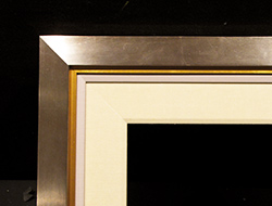 "Satin Nickel Square, 1/2"" Gold, 1/2"" Painted Linen, 3"" Linen Liner"